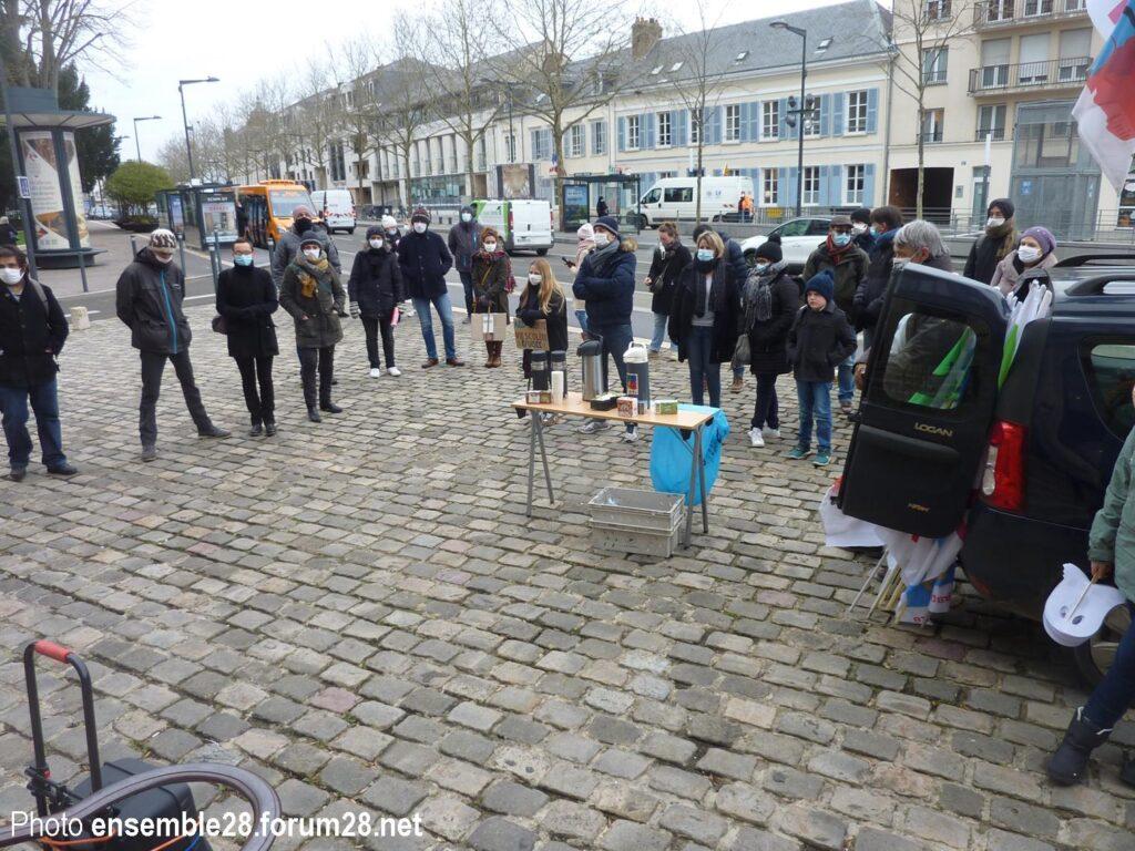 Chartres 25-01-2021 Manifestation Éducation Assemblée générale préliminaire