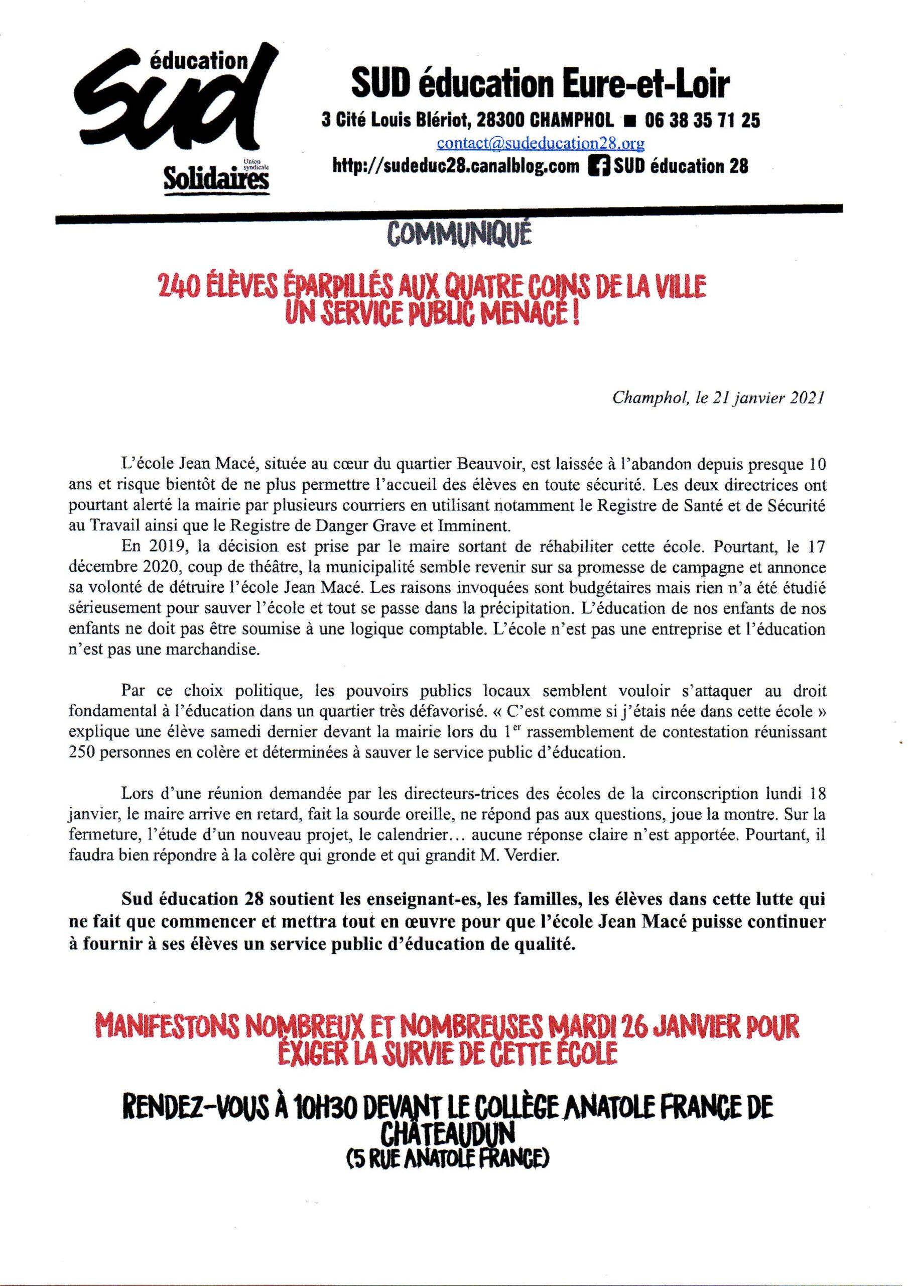 Communiqué SUD-Éducatio-28 École Macé Châteaudun