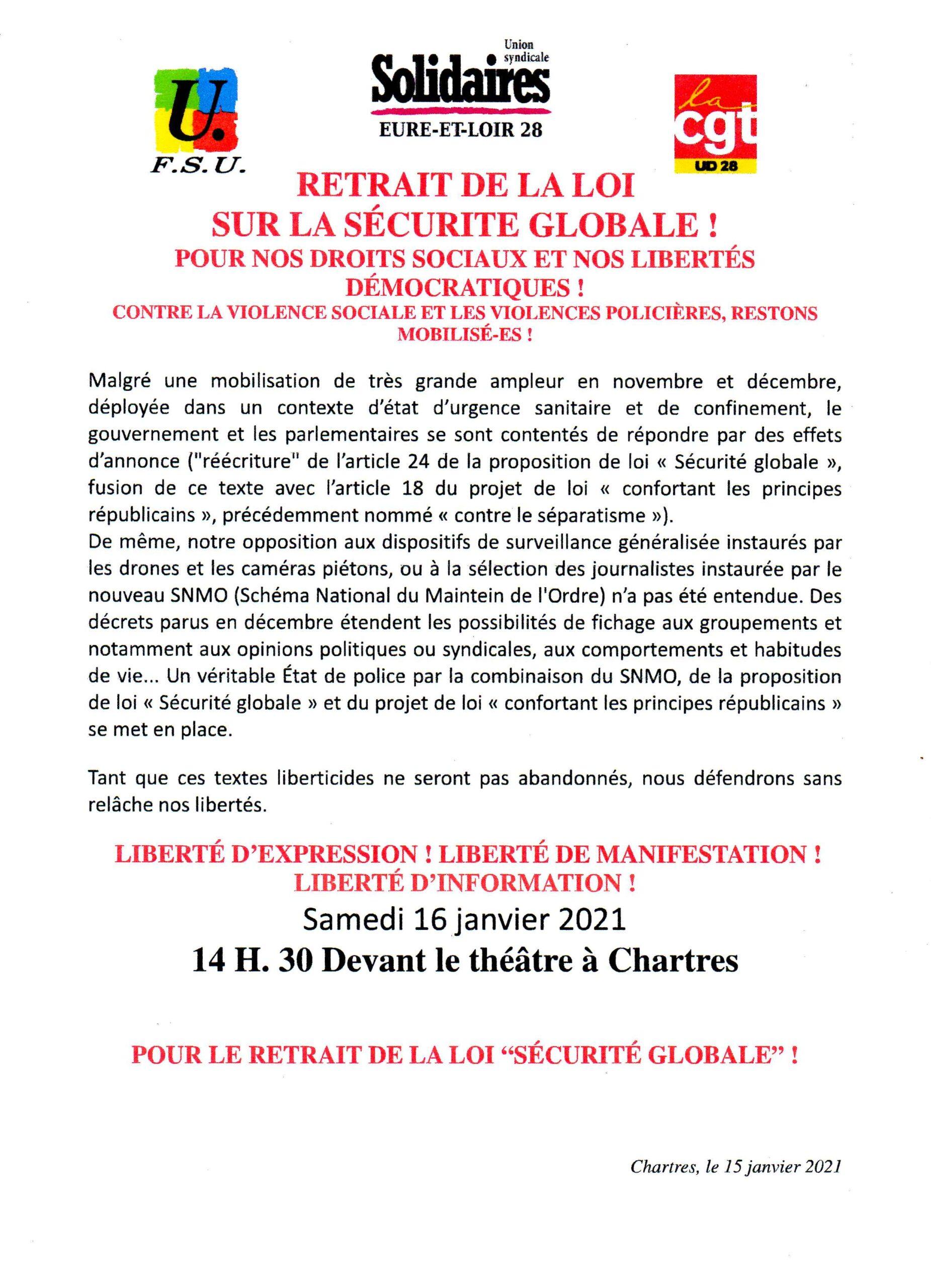 E&L Appel FSU Solidaires CGT Loi-sécurité-globale 16-01-2021 [Mis à jour]