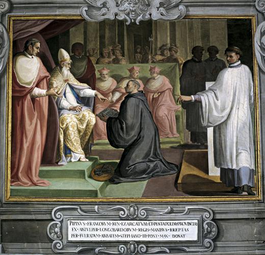 Gravure en couleurs La Donation de Pépin le Bref au Pape Étienne II en 754