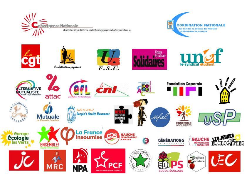 Les logos des Signataires Pétition Sécurité Sociale 75 ans
