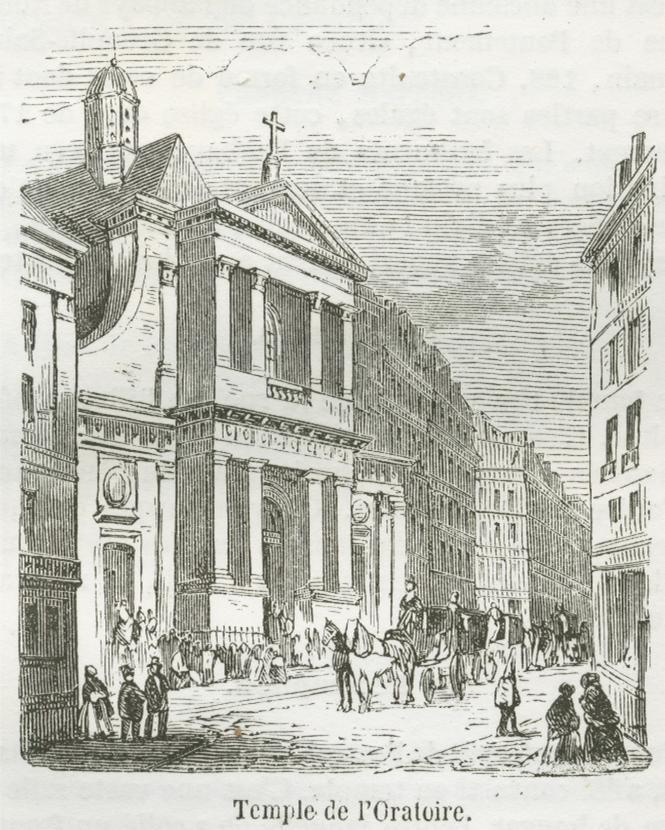 Temple de l'Oratoire à Paris, gravure de 1855
