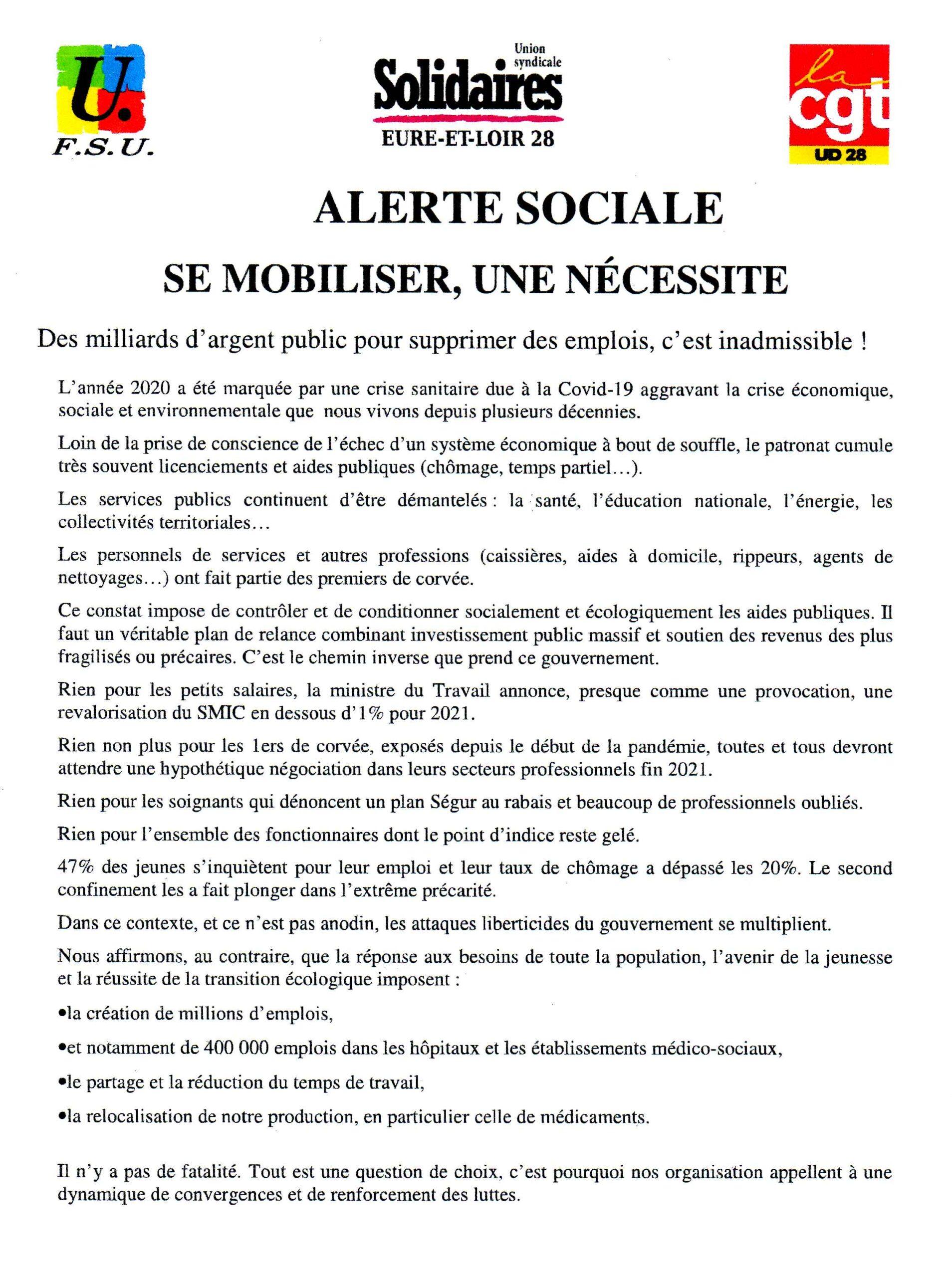 Appel pour l'Eure-&-Loir de l'intersyndicale Interpro pour le 04-02-2021