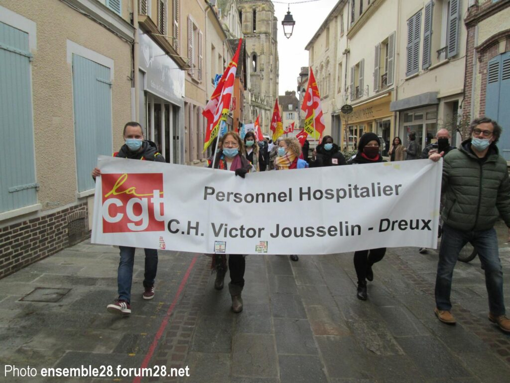 Dreux 18-02-2021 Hôpital Manifestation Soignants