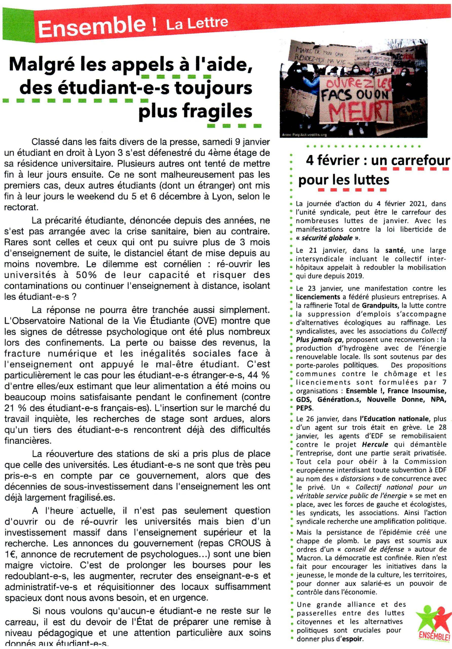 La Lettre d'Ensemble 2021-02-03 Verso