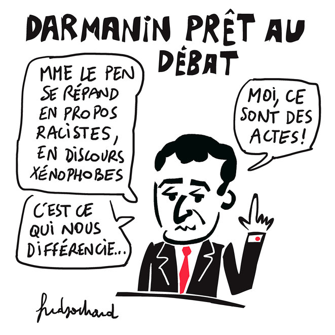 Dessin humoristique représentant Darmanin