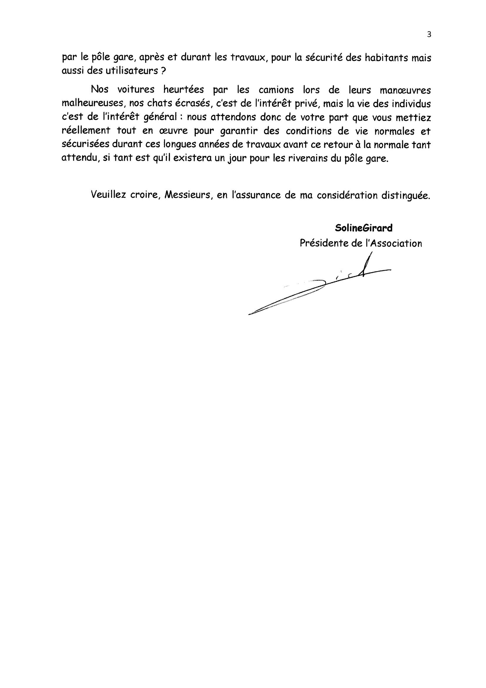 Lettre Épargnez-nous à Gorges 29-01-2021 Sécurisation Secteur Pôle Gare 2x3