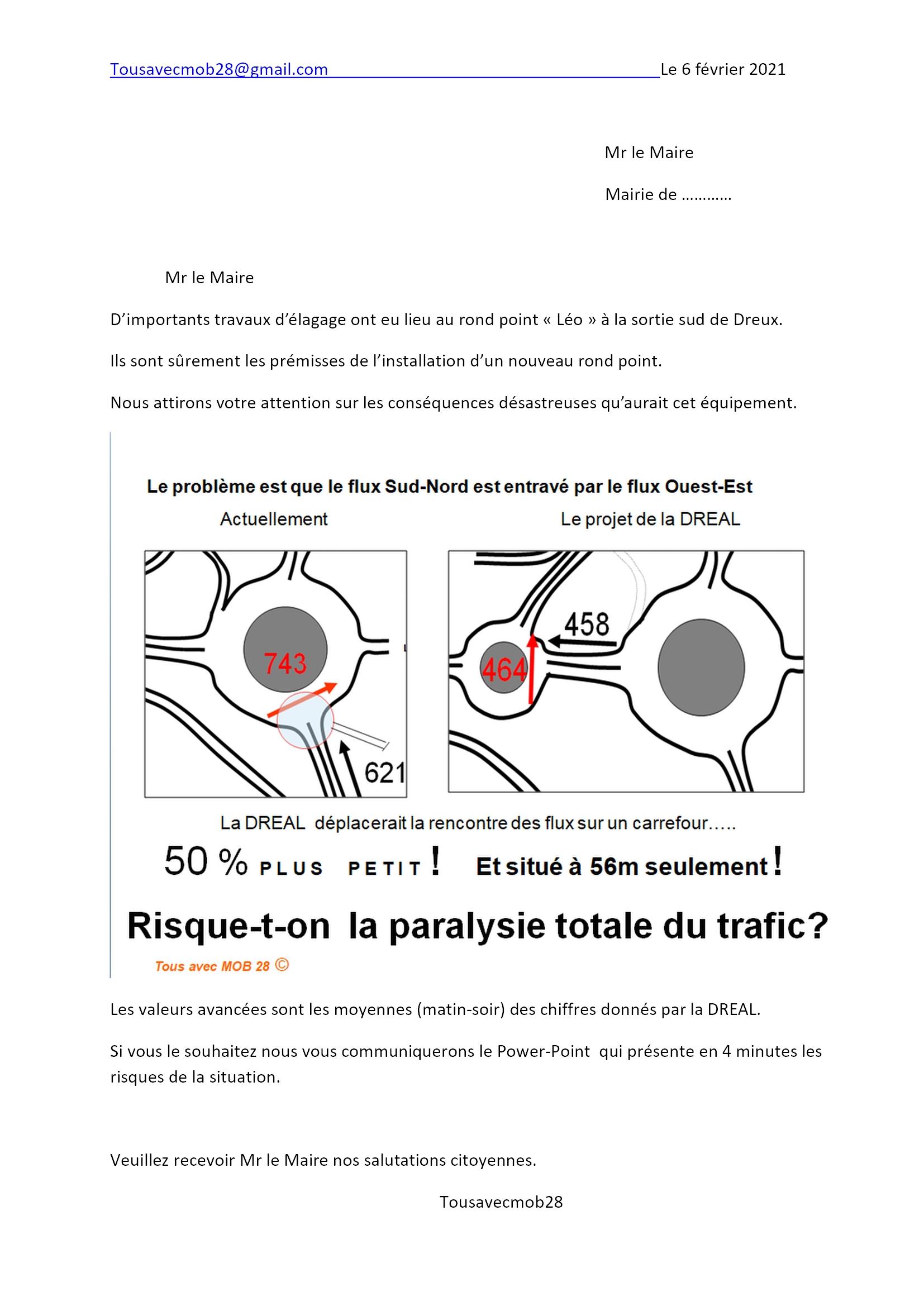 Lettres aux maires pour proposer une solution alternative pour désengorger le giratoire Léo à Dreux