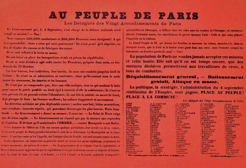 L'Affiche rouge placardée dans Paris le 7 janvier 1871