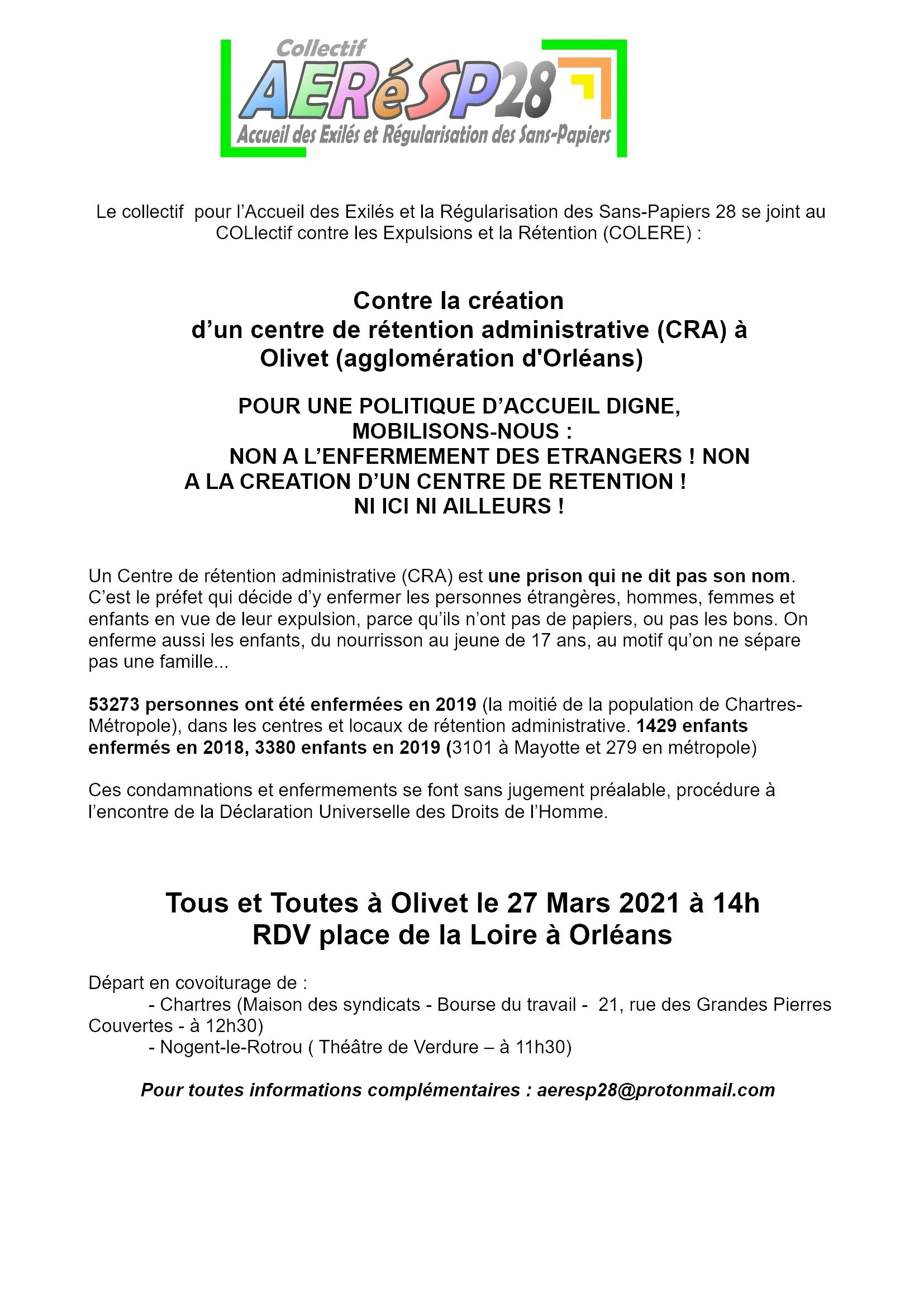 AERéSP 28 Tract Rassemblement Orléans-Olivet CRA 27-03-2021
