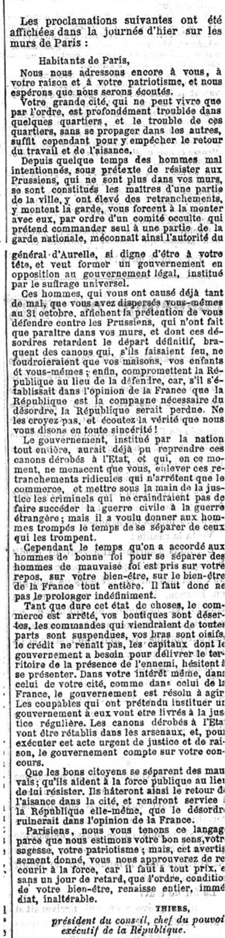 Déclaration de Thiers dans le Figaro du 20 mars 1871