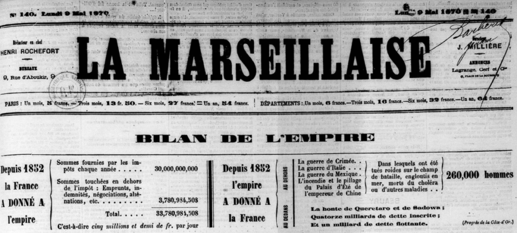 La Marseillaise de Henri Rochefort n° du 9 mai 1870