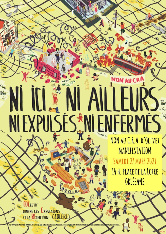 Manifestation Non au CRA Orléans-Olivet 27-03-2021 [Affiche]