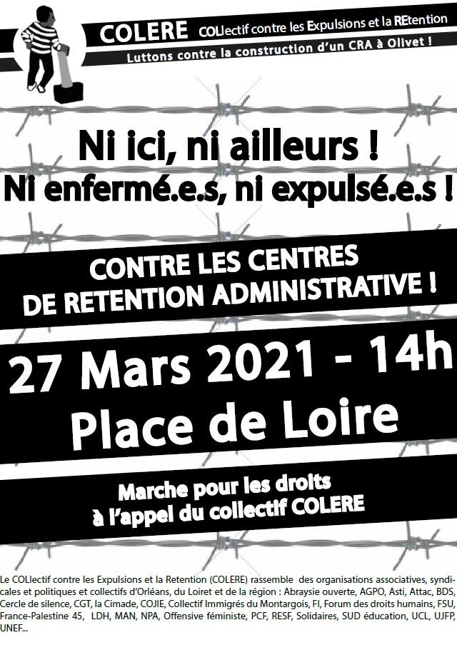 Marche Non au CRA Orléans-Olivet 27-03-2021 [Affiche]