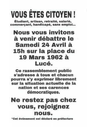 Débat citoyen / place du 19-Mars-1962 / Lucé / 24 avril / 15 h. @ LUCÉ