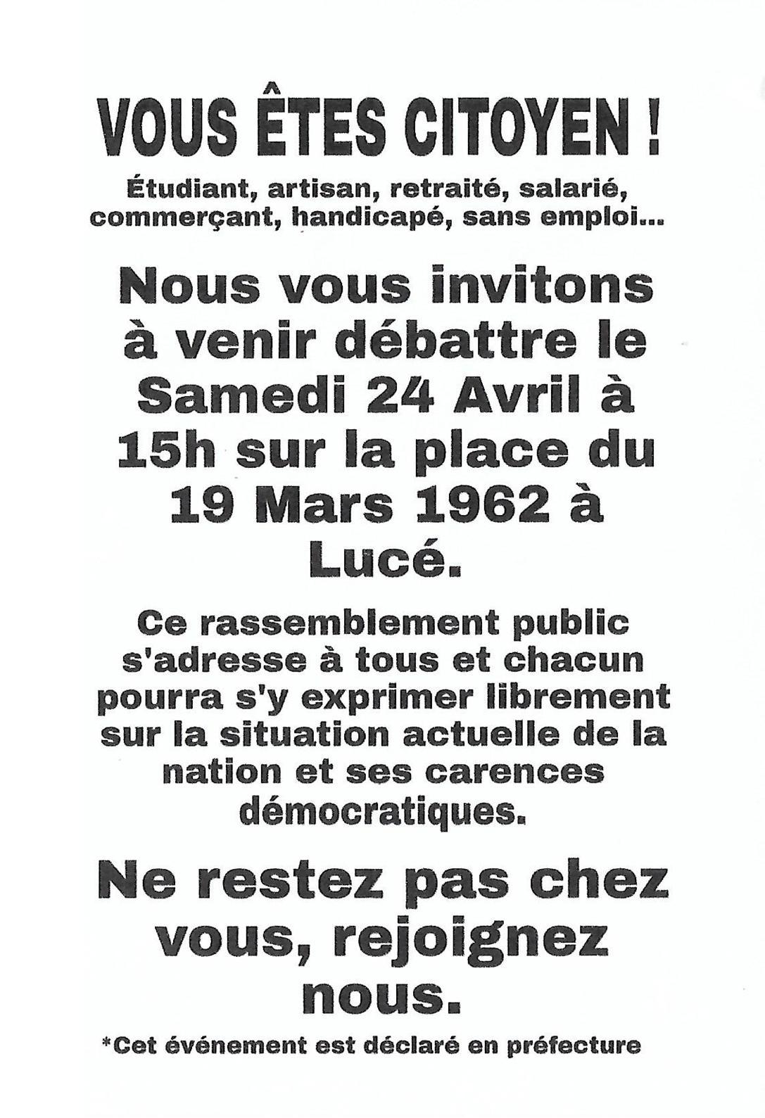 Débat citoyen Lucé 24 avril 2021 [Affiche]