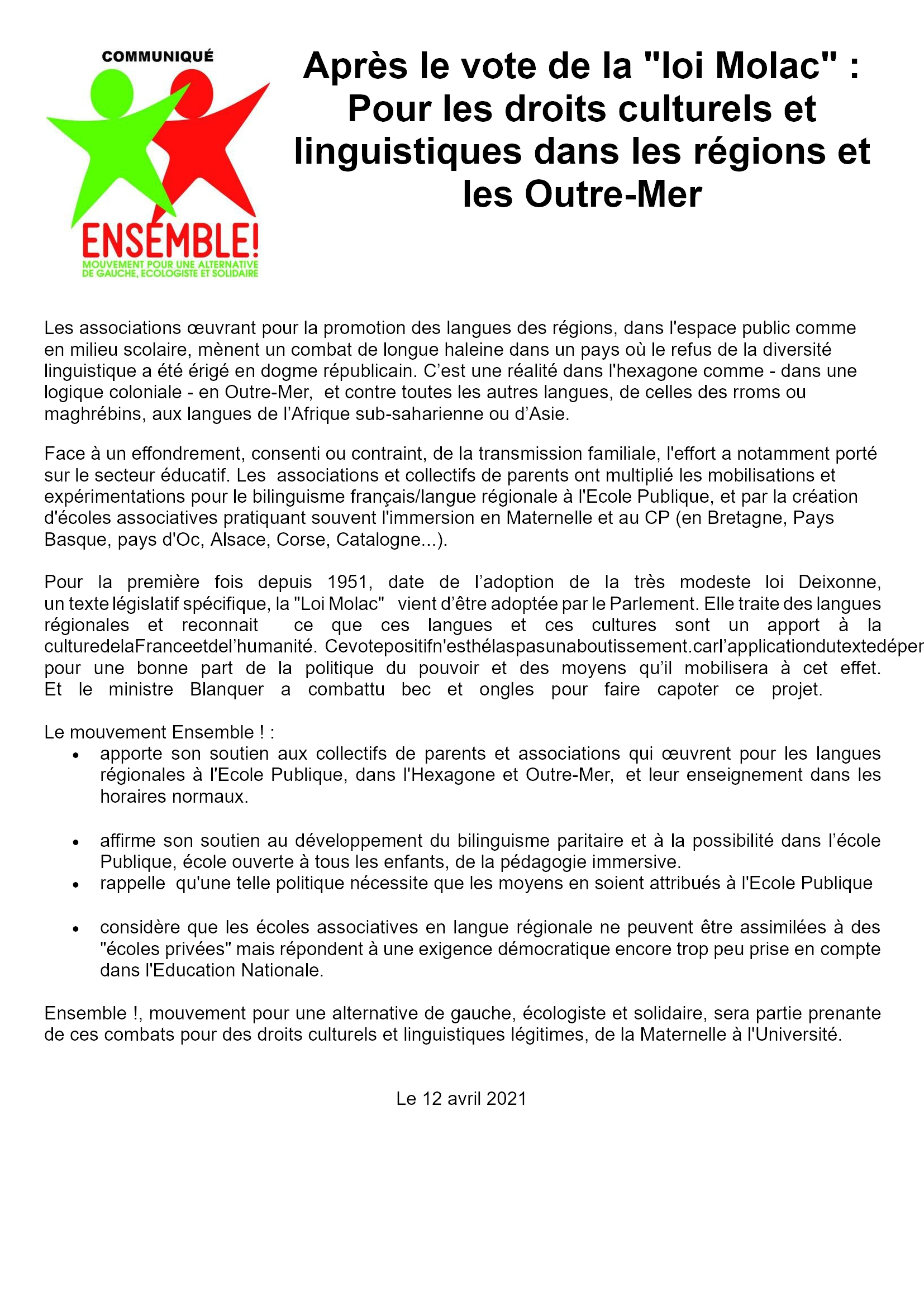 Communiqué d'Ensemble! : Après le vote de la loi Molac