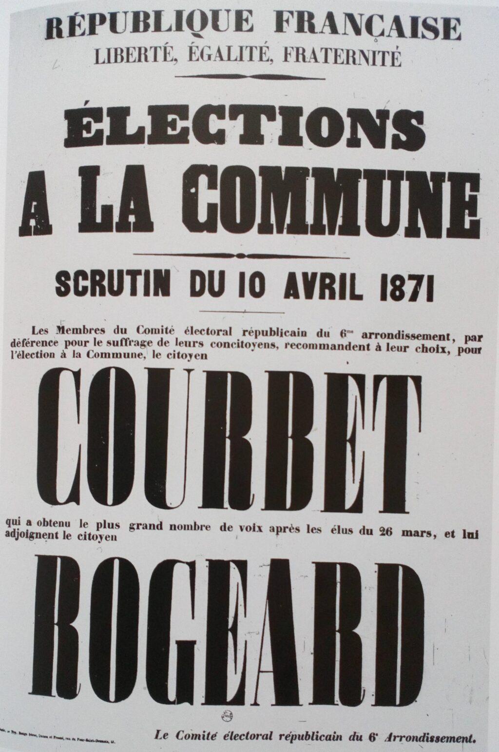 Élections repoussées au 16 avril 1871, Courbet et Rogeard candidats du comité électoral républicains du 6e Arrondissement