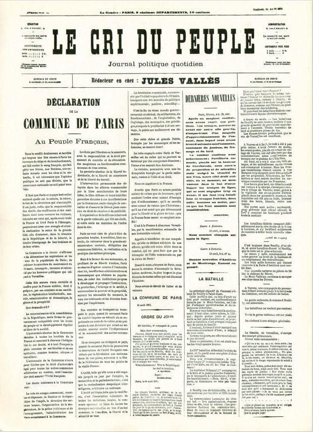 Le Cri du Peuple, 21 avril 1871, Déclaration au Peuple français