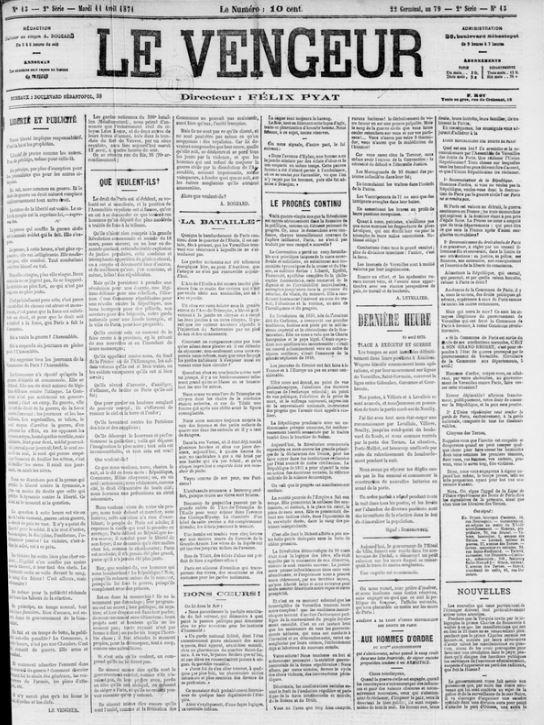 Le Vengeur du 11 avril 1871 avec un article de Rogeard Que veulent-ils ?