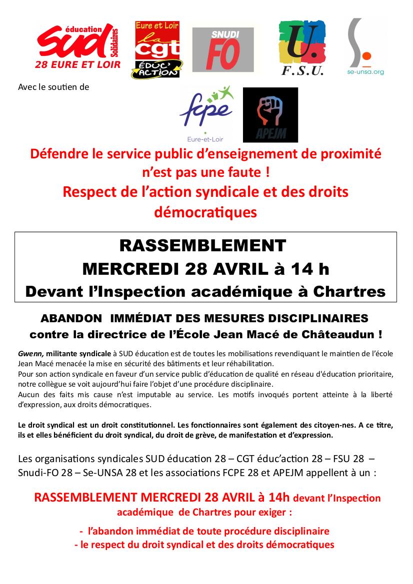 Rassemblement anti-répression Éducation Chartres 28-04-2021 [tract]