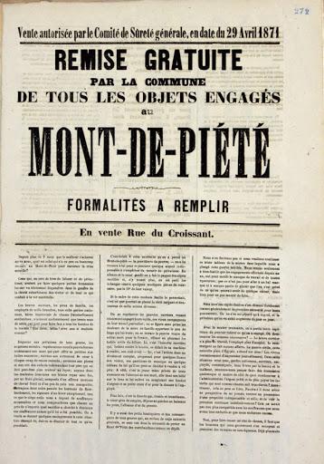 Remise gratuite des objets engagés au Mont-de-Piété, Commune de Paris, 29 avril 1871