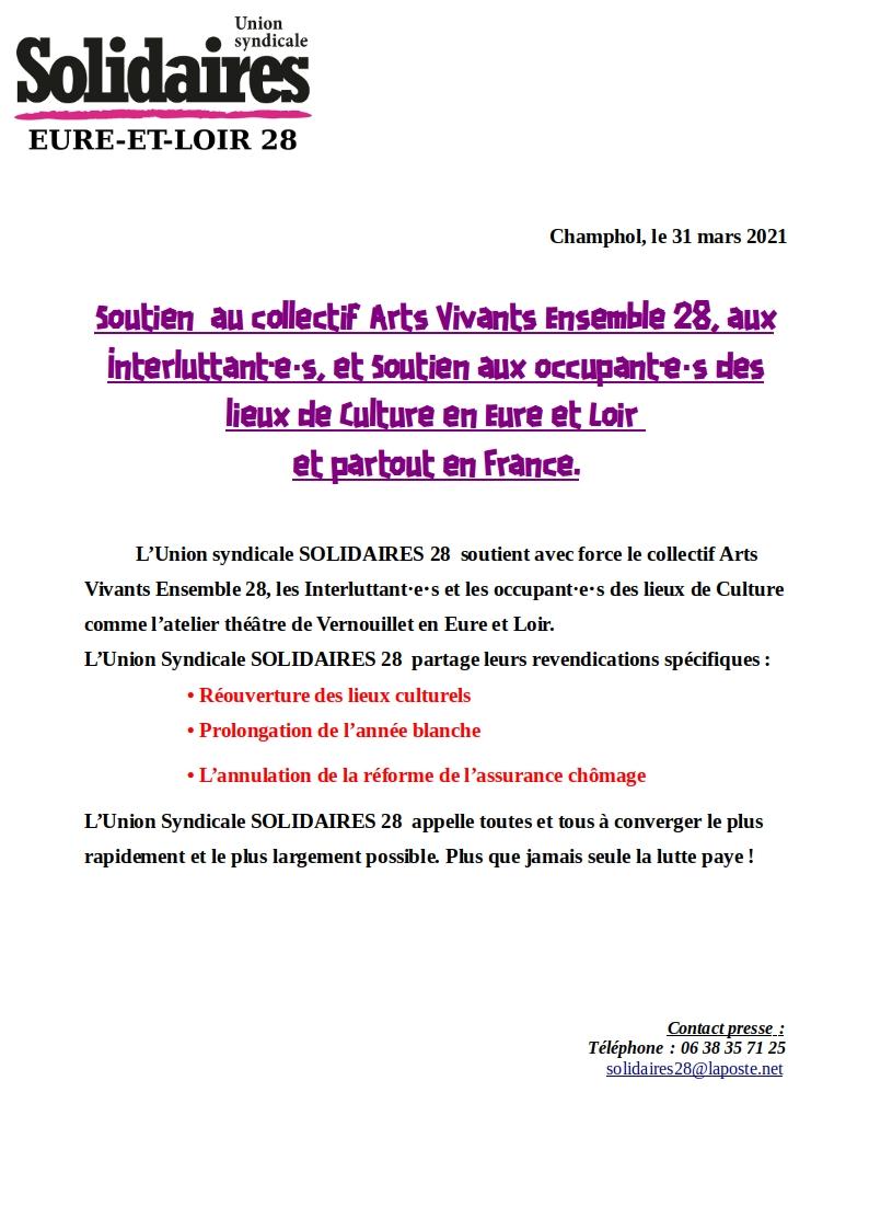 Communiqué de soutien à l'occupation des intermittent d'Eure et Loir de Solidaires 28