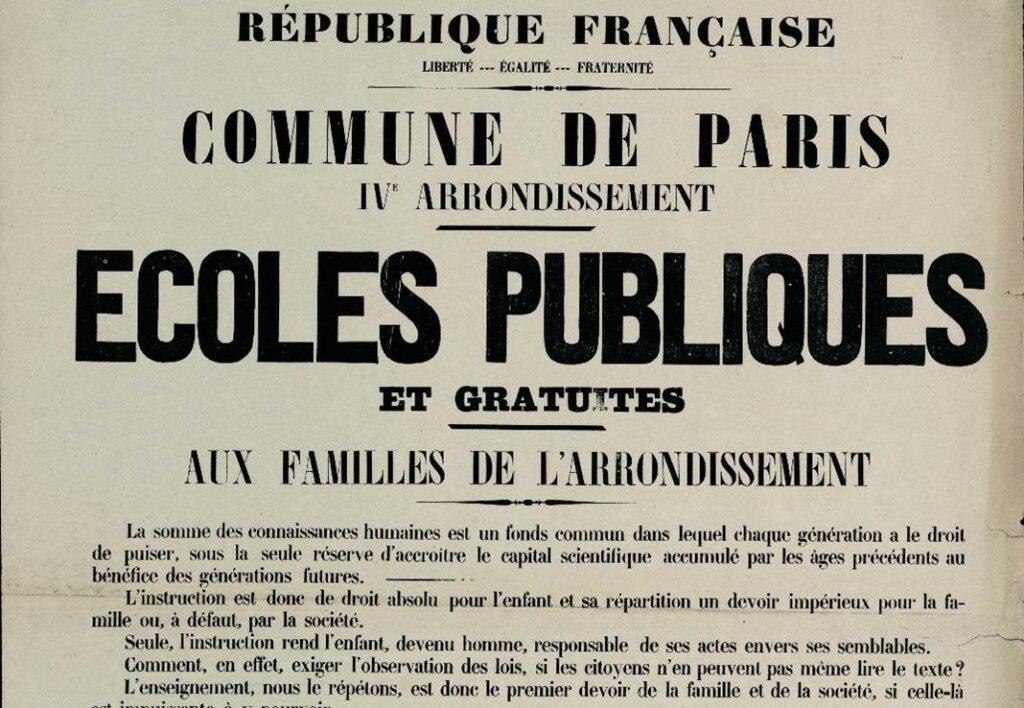 Détail de l'affiche du 12 mai 1871 - Paris IVe École publique gratuite
