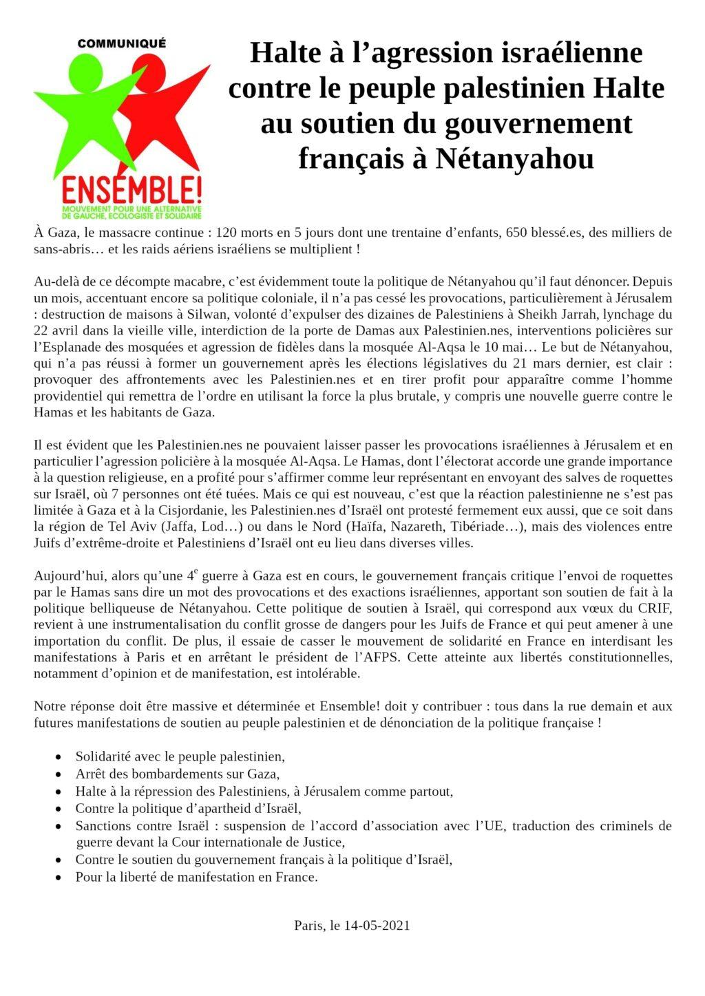 Communiqué de presse d'Ensemble! du 2021-05-14 Halte à l'agression israélienne, Halte au soutien du gouvernement français à Nétanyahou