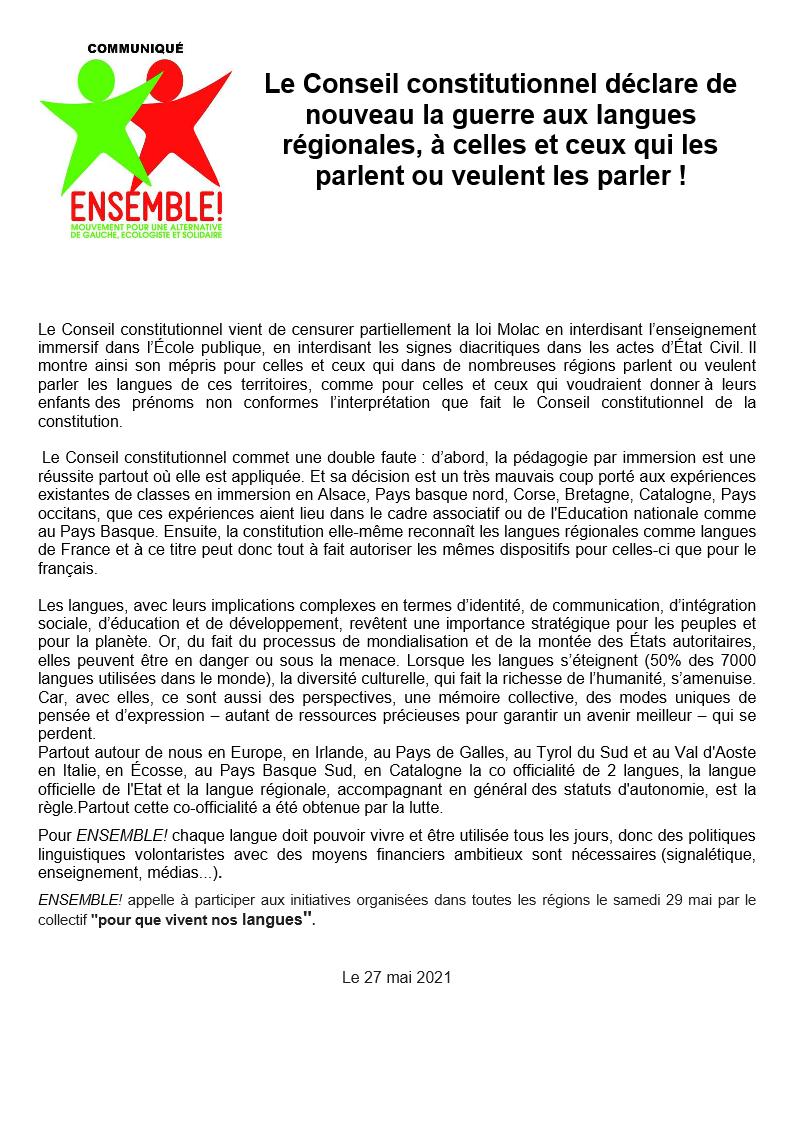 Ensemble! Communiqué de Presse 2021-05-27 LE CONSEIL CONSTITUTIONNEL DECLARE LA GUERRE AUX LANGUES REGIONALES