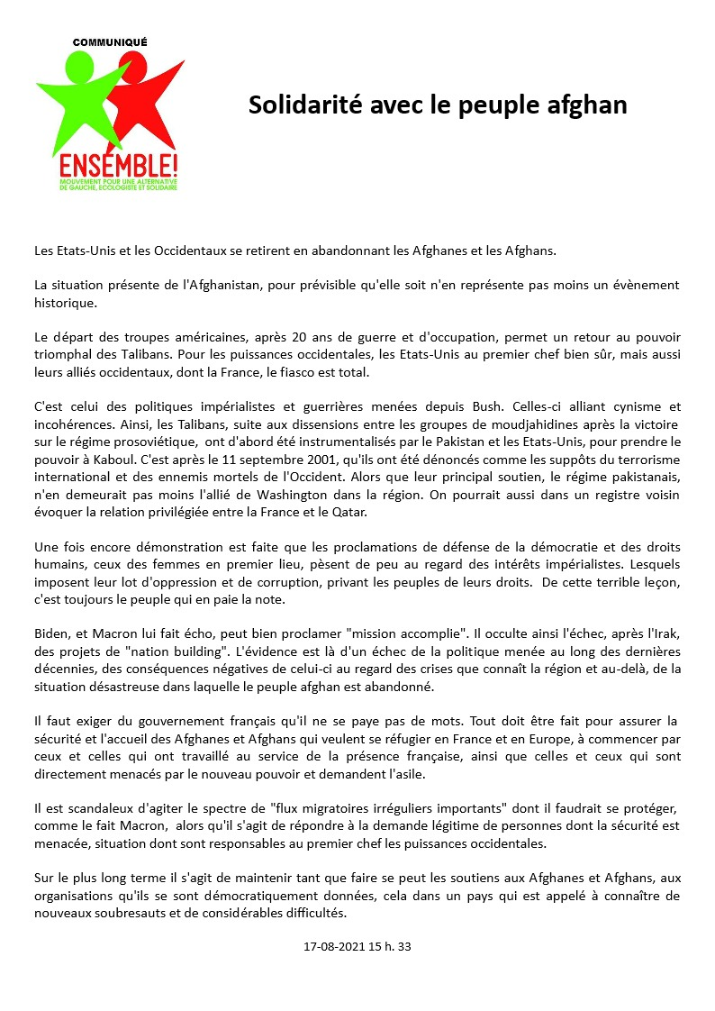 Ensemble! Communiqué de Presse 2021-08-17 Solidarité avec le peuple afghan